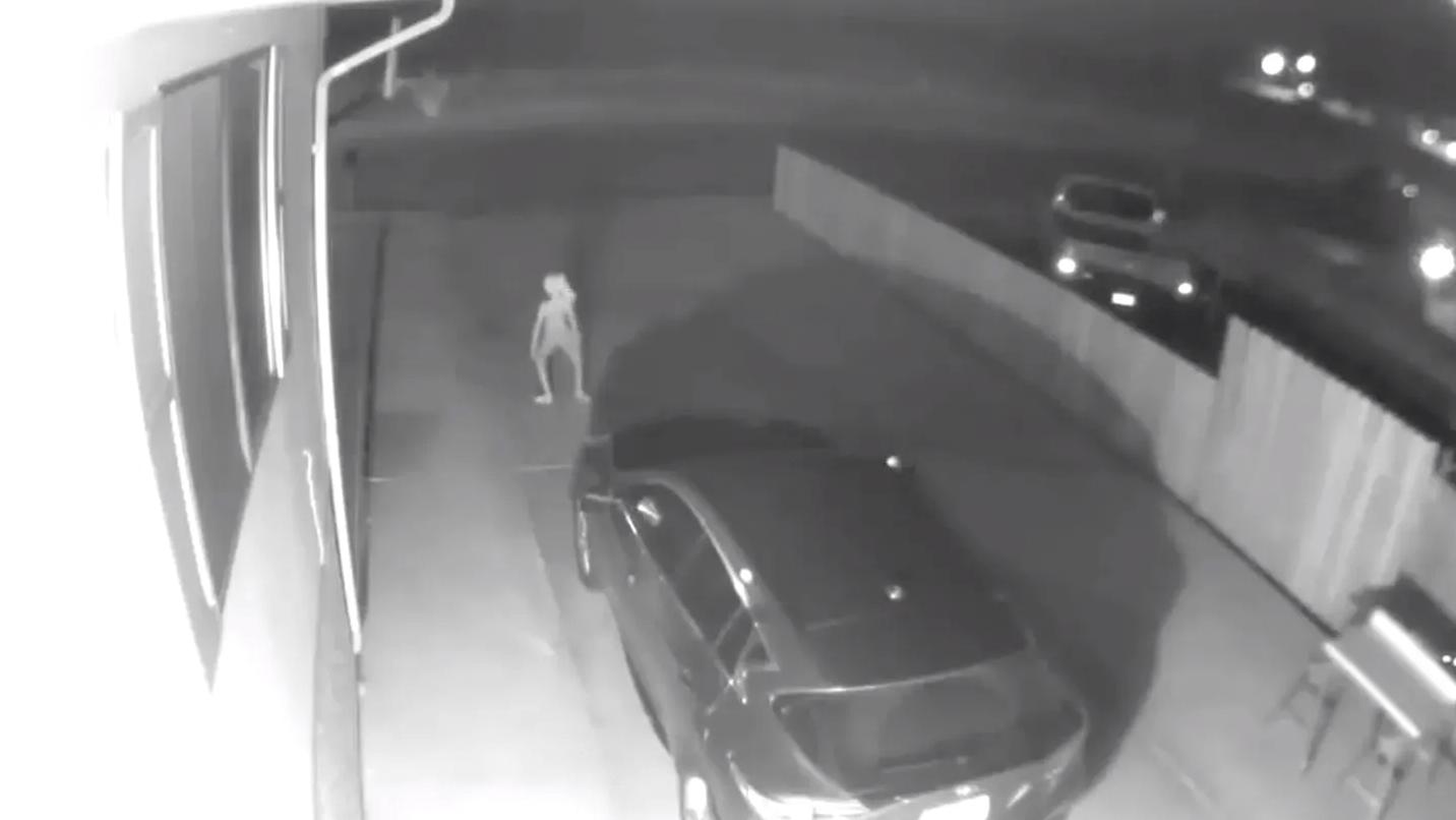 Security Camera Captures an Odd Humanoid Creature
